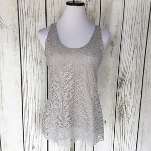 Loft gray sliver lace sleeveless blouse